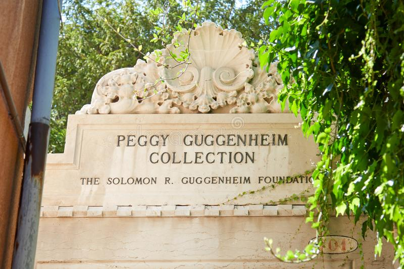 Peggy Guggenheim Collection museum sign with ivy leaves in Venice, Italy stock photos
