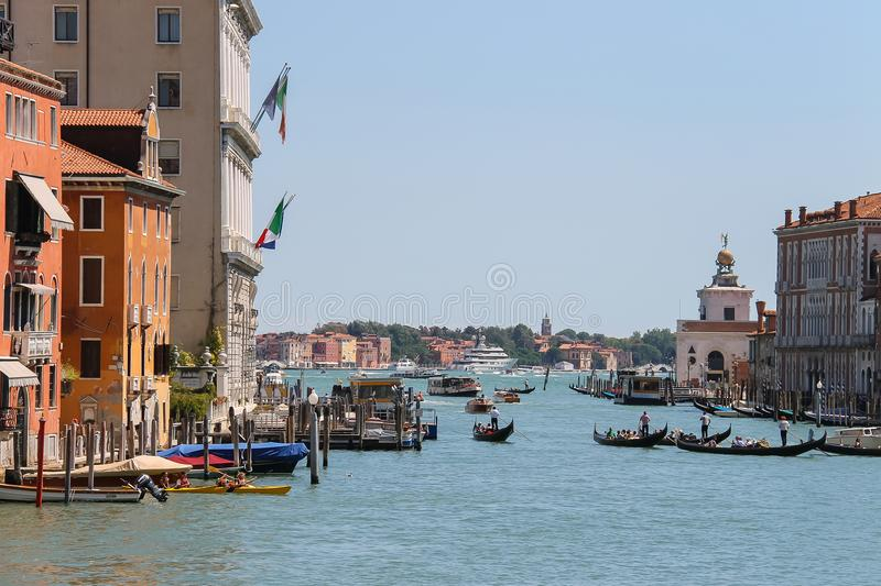 View of Grand Canal from Accademia Bridge in Venice, Italy stock photos