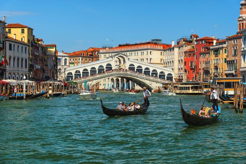 Venice, Grand Canal and Rialto bridge, popular tourist destination stock photo