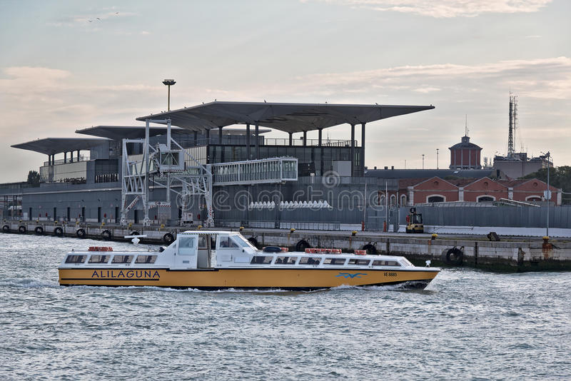 Venice, Italy. Boat Sior Elio Alilaguna VE 8885 in morning royalty free stock photos