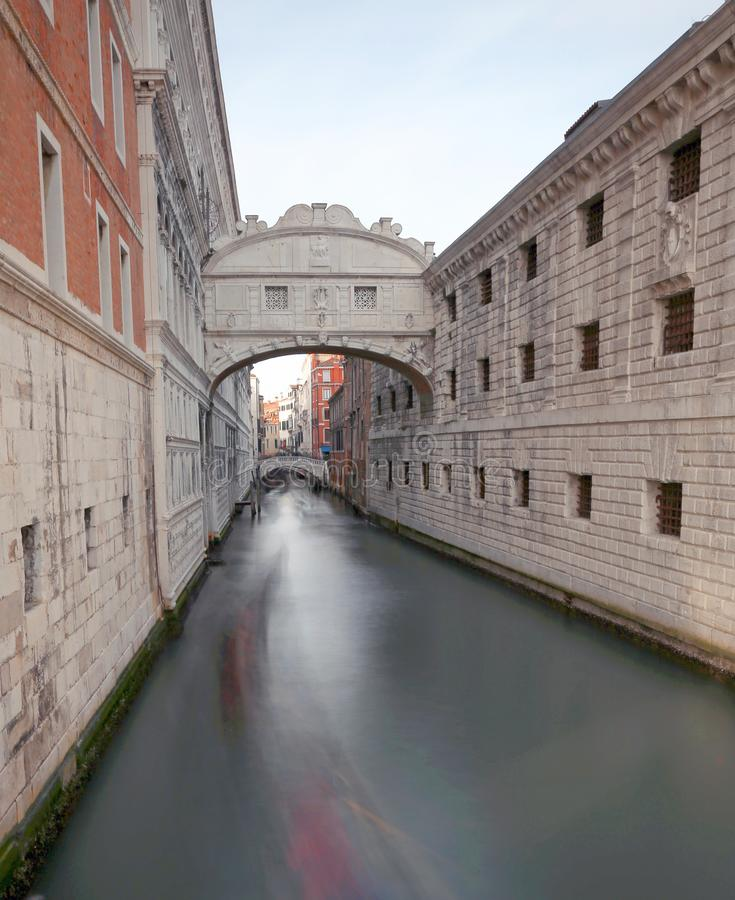 Bridge of sighs with technique of long exposure in Venice Italy royalty free stock images