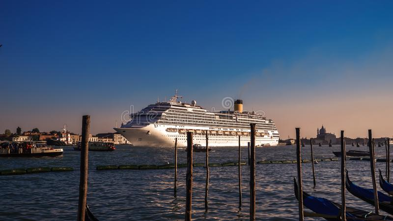 Venice Italy Canal gondola Venezia Italia landmark romantic tourism cruise ship sunset. Amazing view royalty free stock images