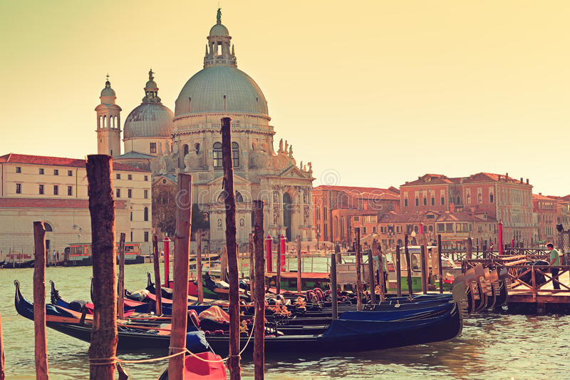 Venice Italy Canal Grande Gondola and Salute royalty free stock photo