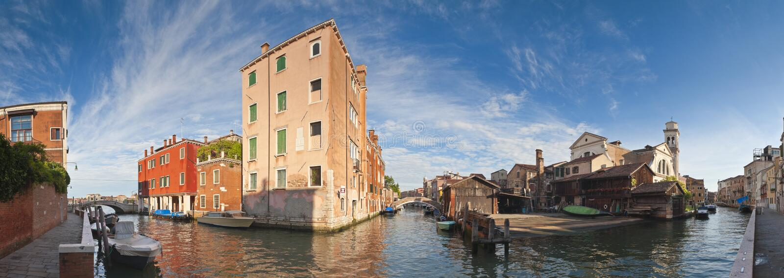 Venice, Italy. Colourful villas, blue sky and Squero di San Trovaso gondola workshop active since the 16th Century, Venice royalty free stock image