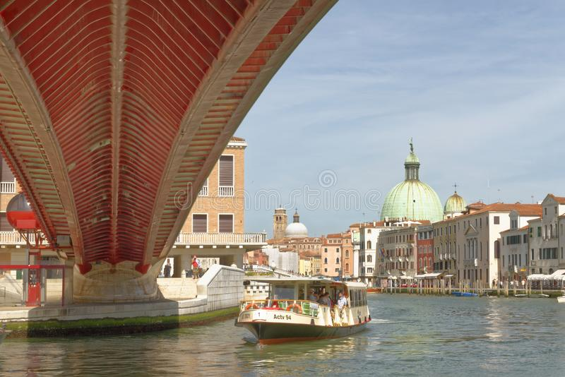 Venice, italy: contitution bridge and gran canal stock image