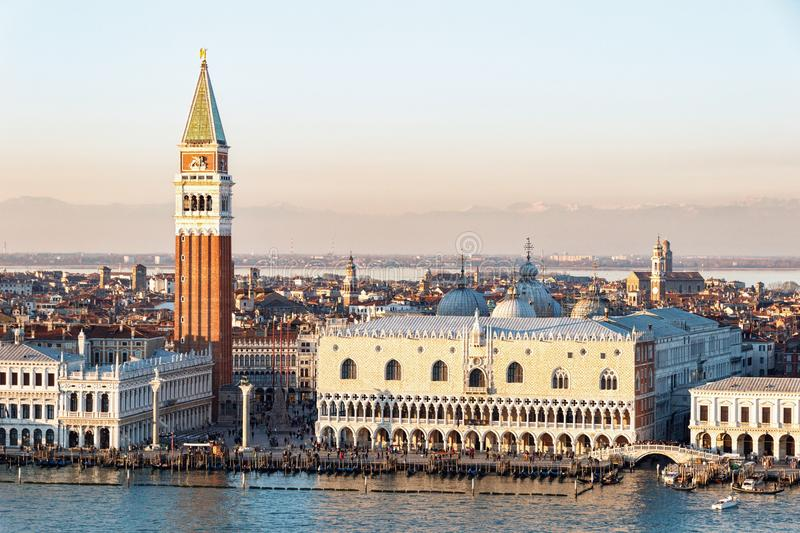 Aerial view of San Marco square in Venice with the Doges` Palace stock image