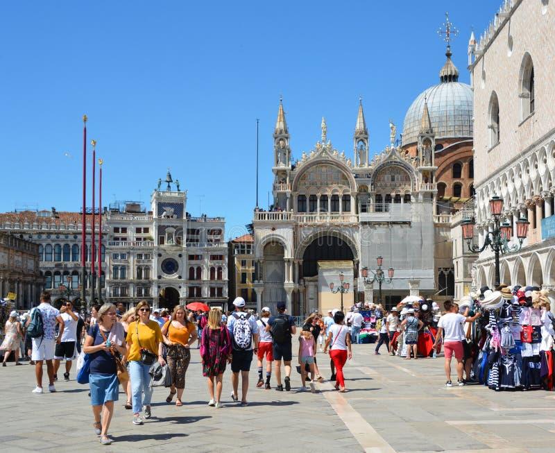 Details of facade, San Marco Basilica in Venice stock image
