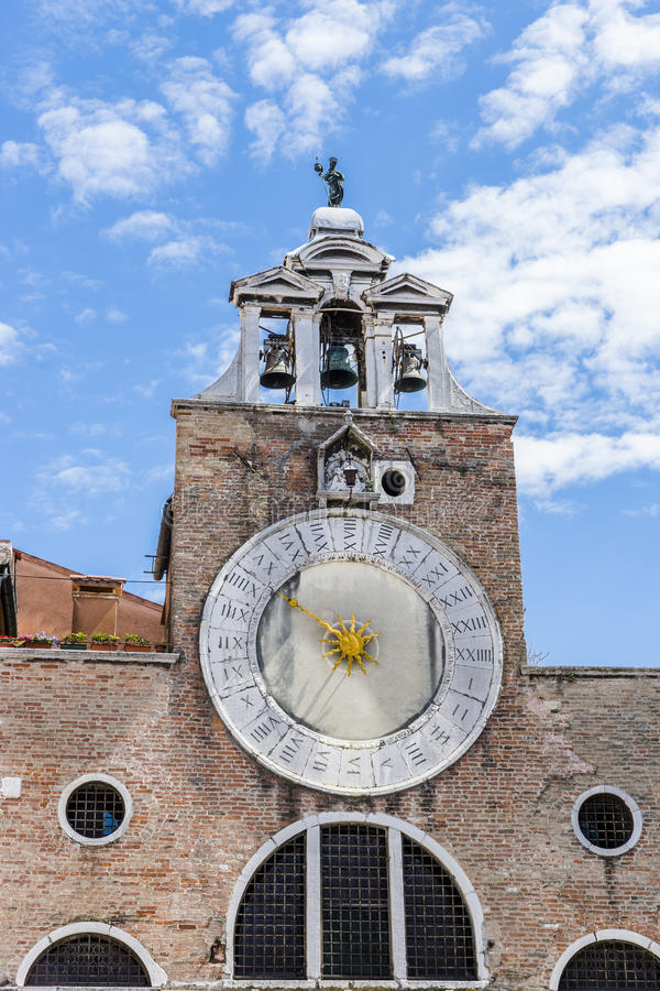 Venice in Italy. Europe . Old church and tower with the clock stock photos
