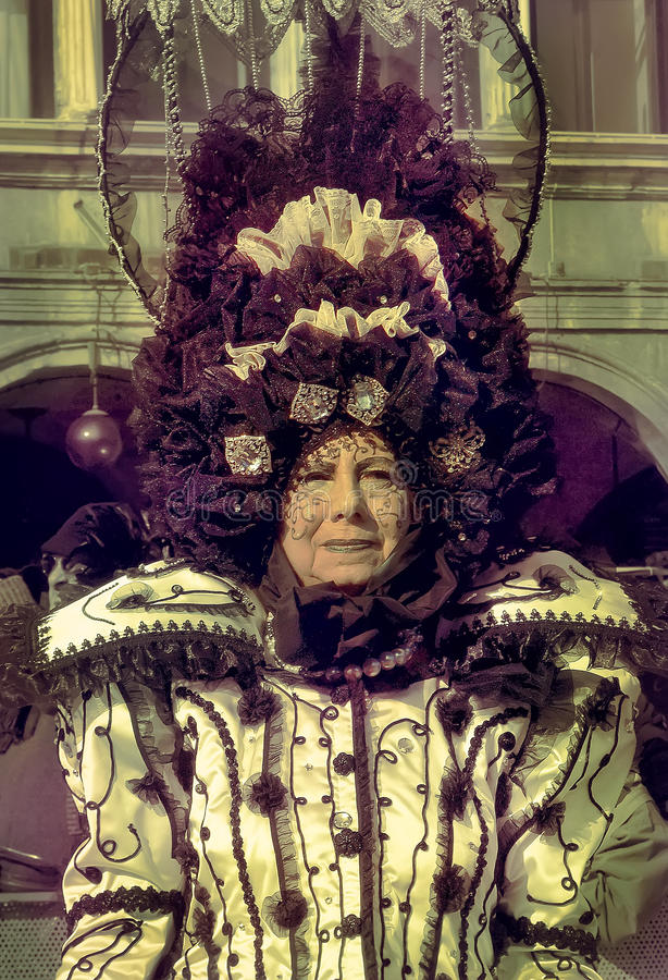 Old Venezian woman at Venice Carnival royalty free stock images