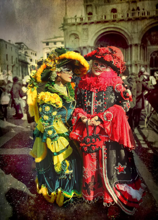 Two women at Venice Carnival royalty free stock photography