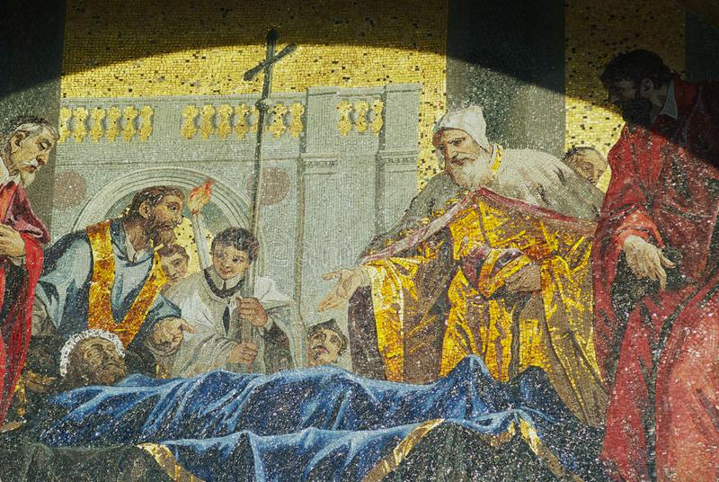Detail the mosaic of the veneration of St. Mark at Saint Mark`s Basilica in Venice, Italy. Venice, Italy - February 27, 2007: Detail the mosaic of the stock images