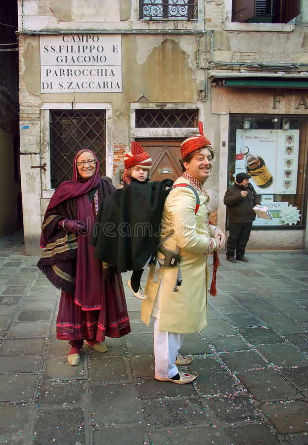 Family Carnival day in Venice stock images