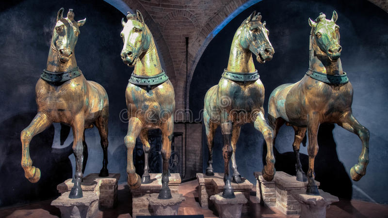 Venice, Italy - February 18, 2015: The horses of St. Mark's Basilica in Venice stock photos