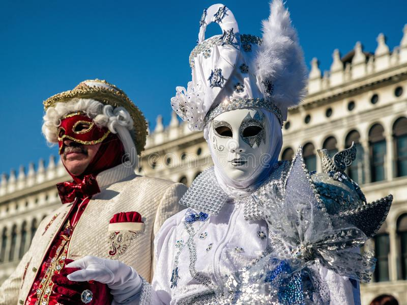 People in costumes at Venice carnival 2018, italiy stock photo