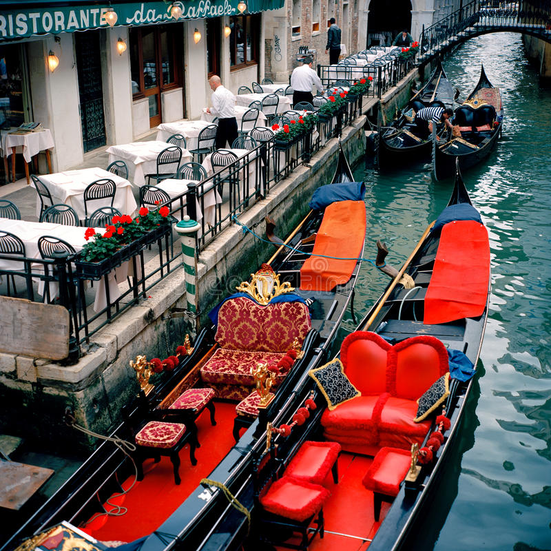 Venice, Italy. Festive Gondolas stock photos