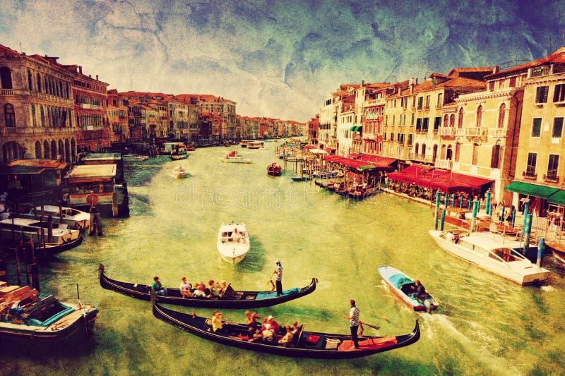 Venice, Italy. Gondola on Grand Canal. Vintage art. Venice, Italy. Gondolas on Grand Canal, Italian Canal Grande. View from Rialto Bridge. Vintage art, retro stock illustration