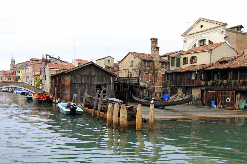 Venice in Italy. Gondola Shipyard Squero di San Trovaso at District of Dorsoduro, Venice, Italy, Europe royalty free stock images
