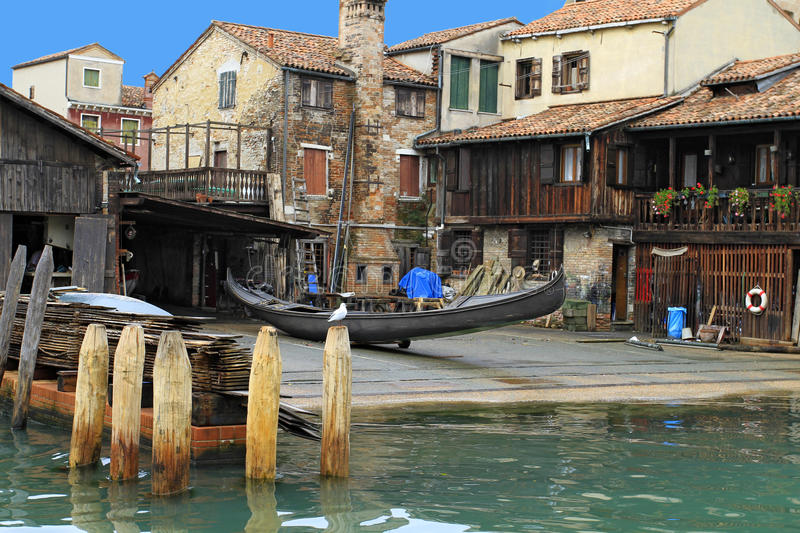 Venice in Italy. Gondola Shipyard Squero di San Trovaso at District of Dorsoduro, Venice, Italy, Europe stock photos