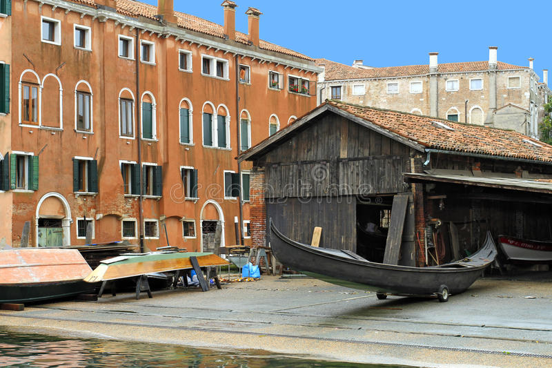 Venice in Italy. Gondola Shipyard Squero di San Trovaso at District of Dorsoduro, Venice, Italy, Europe royalty free stock photo