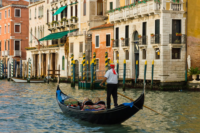 Venice, Italy. Gondolas on the canals of Venice stock photos