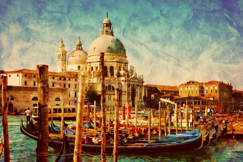 Venice, Italy. Gondolas on Grand Canal. Vintage. Venice, Italy. Gondolas on Grand Canal, Italian Canal Grande. Vintage, retro style vector illustration