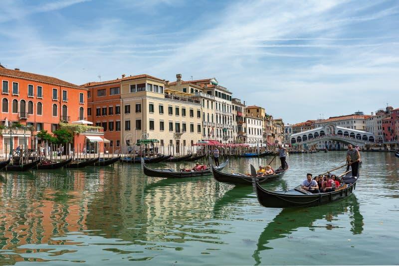 Venice, Italy - 12.06.2019: Gondolas near to the Rialto bridge on Grand canal street in Venezia royalty free stock image