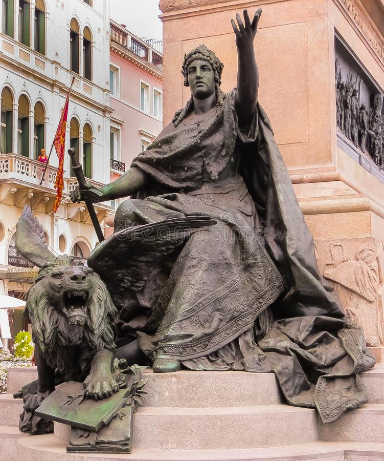 Grand Canal Venice With Saint Mark`s Lion Statue. Venice, Italy - 08/05/2012 - Grand Canal Venice With Saint Mark`s Lion Statue stock image