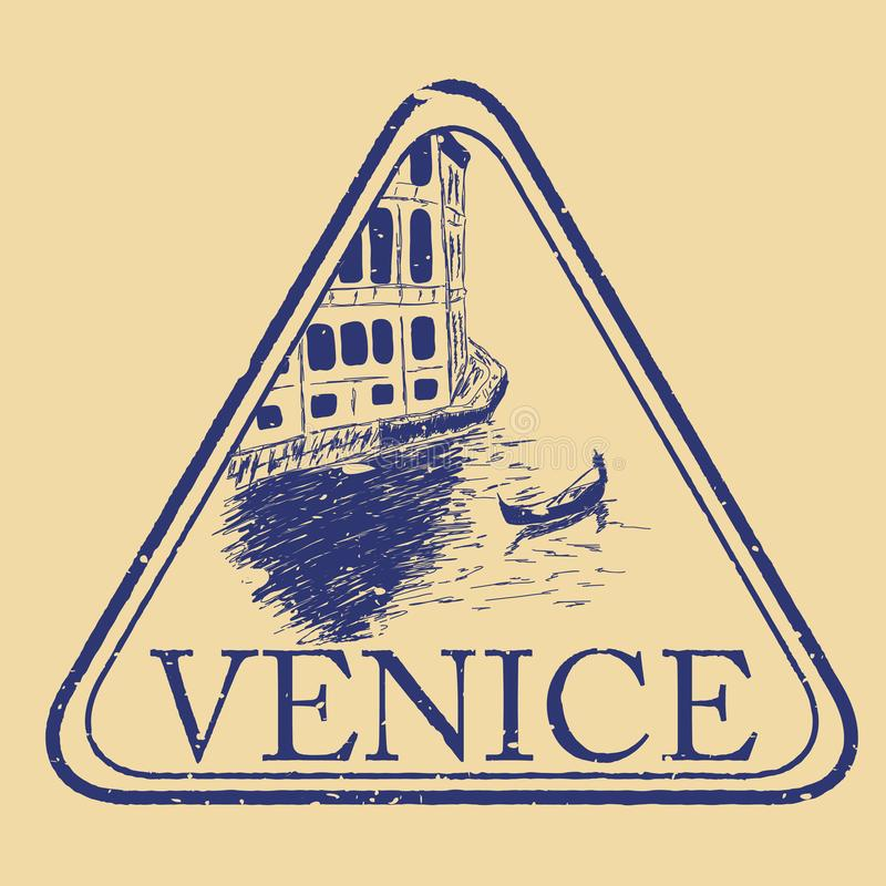 Venice, Italy isolated postage stamp stock illustration
