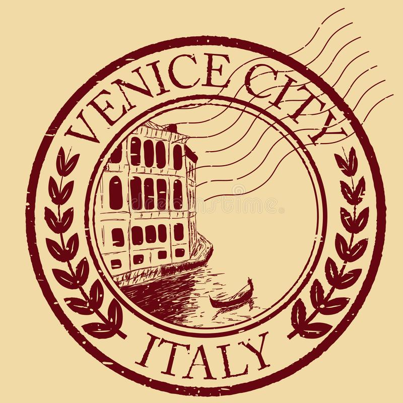 Venice, Italy isolated postage stamp vector illustration