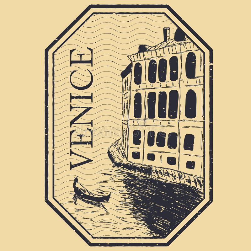 Venice, Italy isolated postage stamp royalty free illustration
