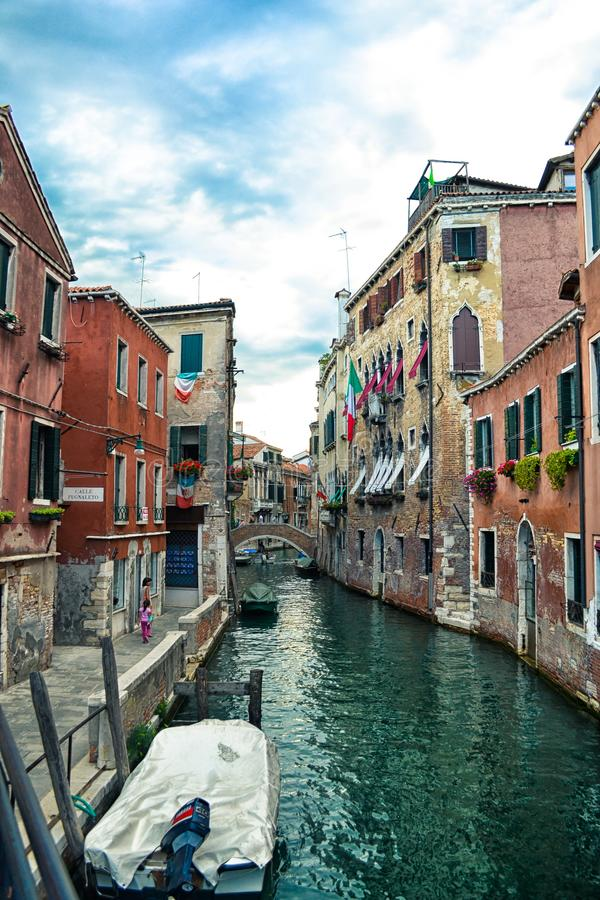 Beautiful venetian canal in summer day, Italy stock photo