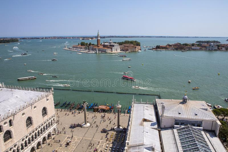 View from St. Marks Campanile in Venice stock photo