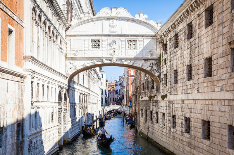 VENICE, ITALY - June 27, 2016: Bridge of Sighs. Venice`s famous Bridge of Sighs was designed by Antonio Contino and was built at the beginning of the seventeenth royalty free stock photo