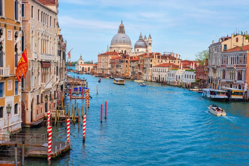 Venice Italy landscape. Beautiful view on Grand Canal with Basilica di Santa Maria della Salute stock photos