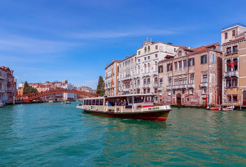 Venice, Italy - March 27, 2019: Beautiful view of the Grand Canal in Venice with Accademia Bridge Ponte dell`Accademia stock photography