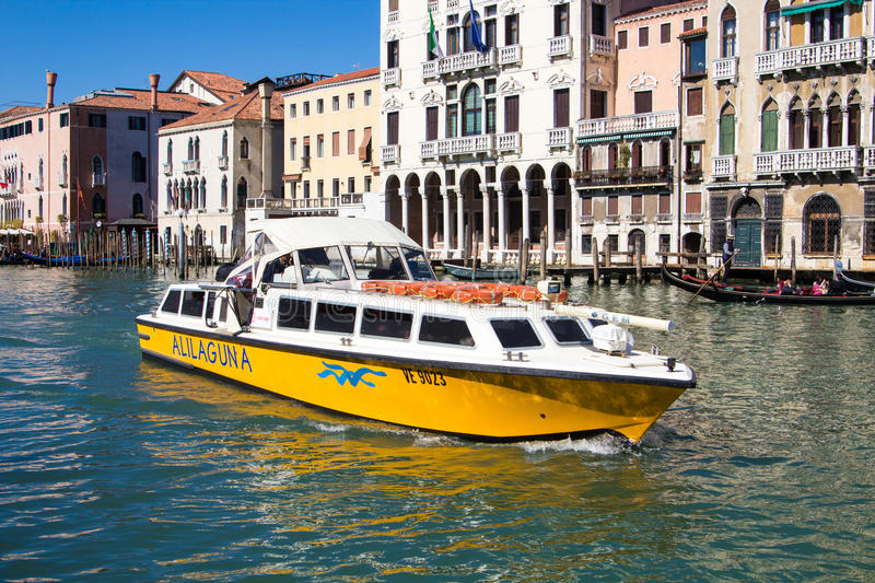 Venice, Italy - March 28, 2015: View of the Grand Canal in Veni royalty free stock image