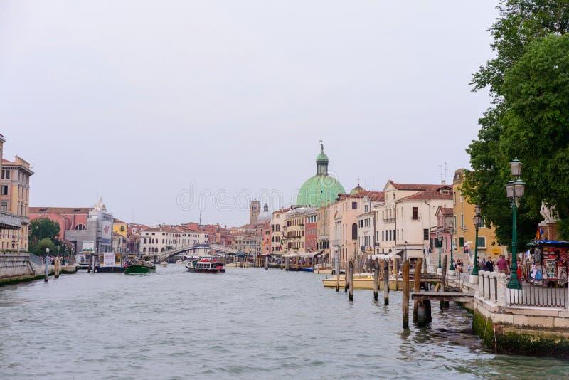 VENICE, ITALY - MAY, 2017: big canal view from the Calatrava bridge, in Venice.  stock photos