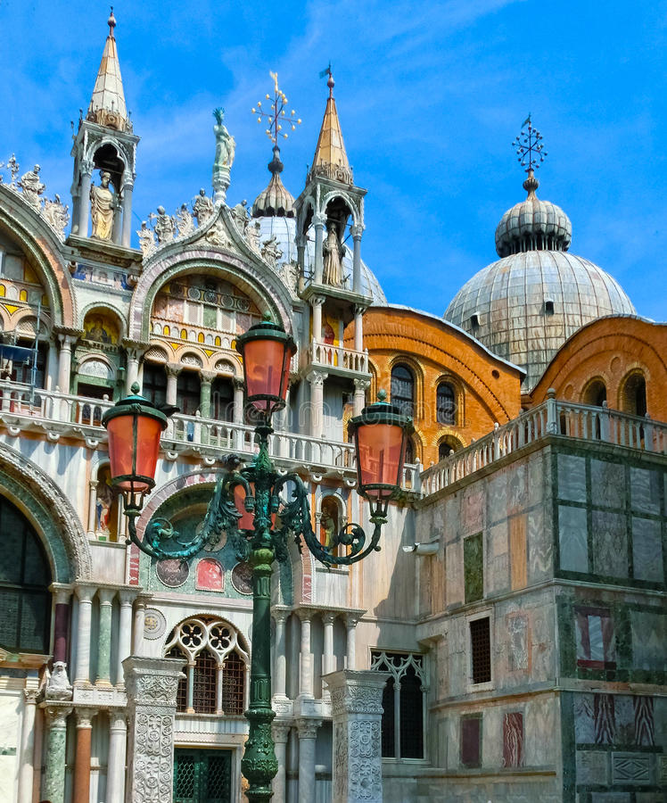 Venice, Italy - May 10, 2014: The detail of St. Mark Basilica stock image