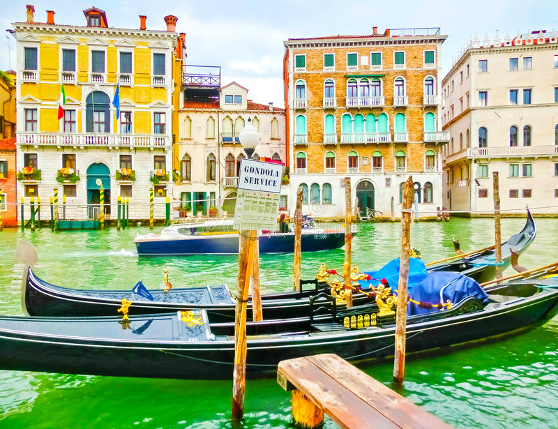 Venice, Italy - May 04, 2017: gondola sails down the channel in Venice, Italy. Gondola is a traditional transport in stock images