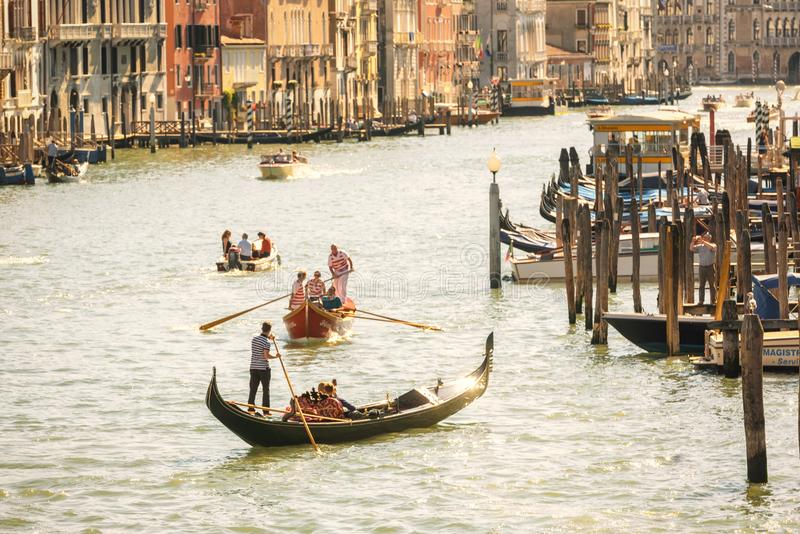 Gondolas are sailing on the Grand Canal in Venice, Italy stock photos