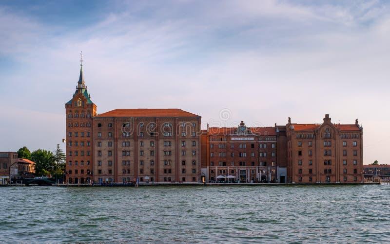 Venice, Italy - 08 May 2018: Hotel Hilton Molino Stucky Venice, on the island of Giudecca.  royalty free stock image
