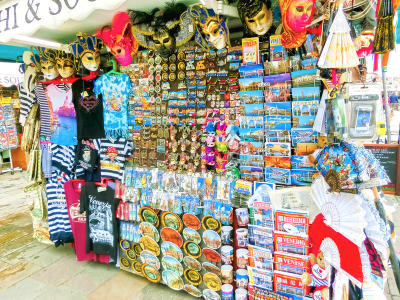 Venice, Italy - May 04, 2017: Vendors stands - profitable and popular form of sales traditional souvenirs and gifts like. Venice, Italy - May 04, 2017: Vendors stock photo