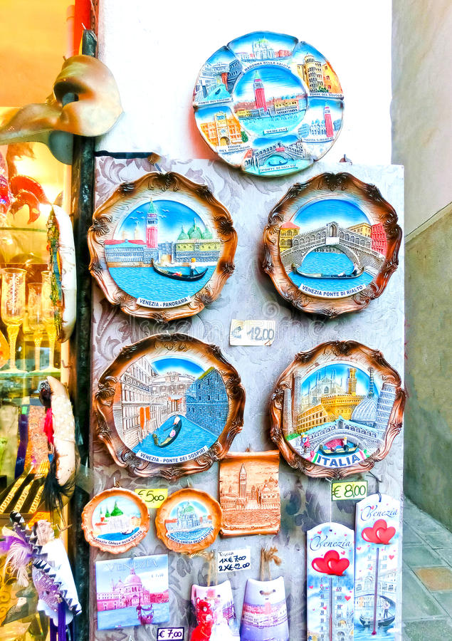 Venice, Italy - May 04, 2017: Vendors stands - profitable and popular form of sales traditional souvenirs and gifts like. Venice, Italy - May 04, 2017: Vendors stock images