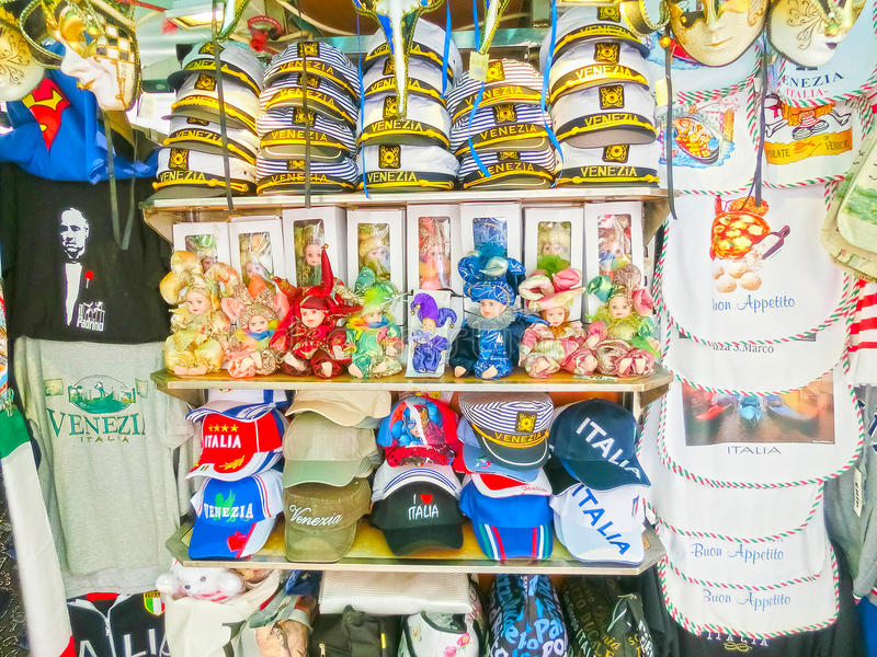 Venice, Italy - May 04, 2017: Vendors stands - profitable and popular form of sales traditional souvenirs and gifts like. VENICE, ITALY - June 26, 2014: Vendors royalty free stock photos