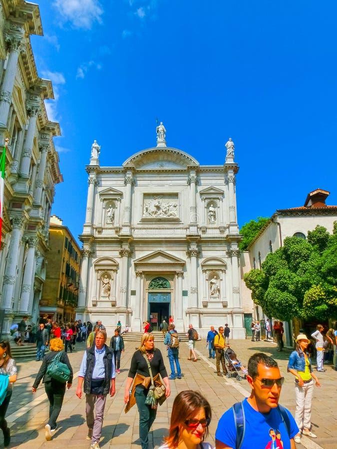 Venice, Italy - May 01, 2014: Venice - Scuola Grande di San Rocco and church Chiesa San Rocco stock photo