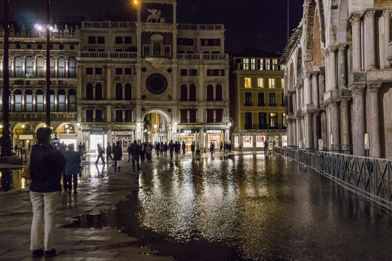 Venice in Italy at night. stock photos