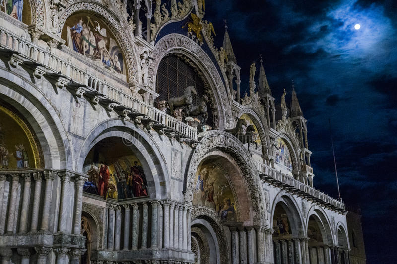 Venice in Italy at night. royalty free stock photos