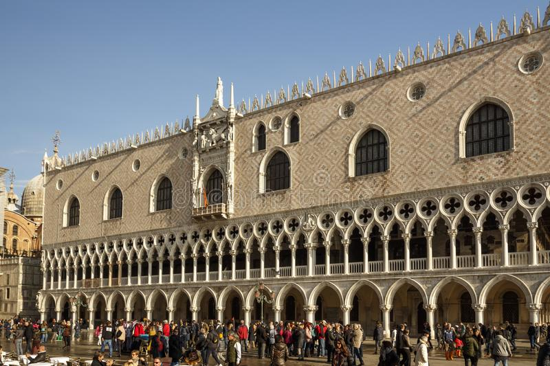 St. Mark`s Square with the Doge`s Palace in Venice, Italy, 2016. Venice, Italy - November 12, 2016: The Doge`s Palace at St. Mark`s Square is one of the main royalty free stock photos