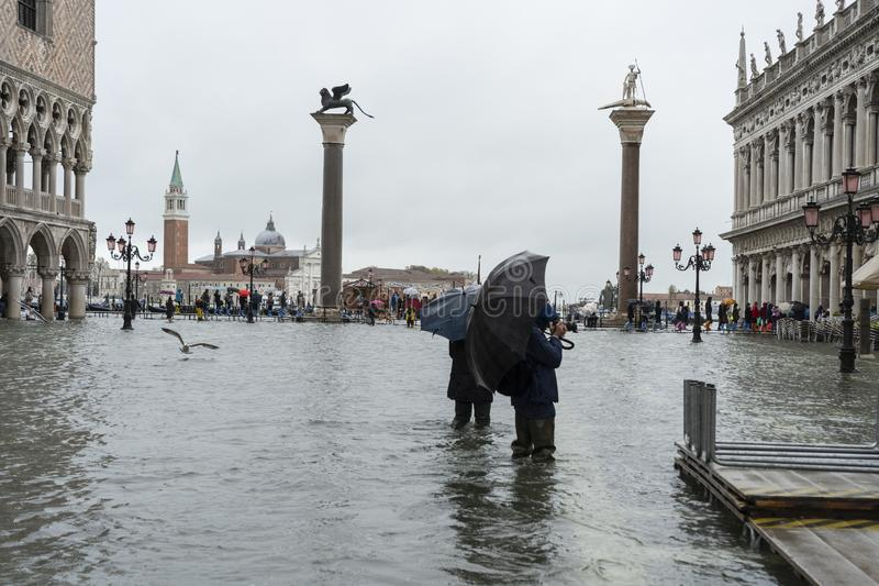 VENICE, ITALY - November 12, 2019: St. Marks Square Piazza San Marco during flood acqua alta in Venice, Italy. Venice high royalty free stock photos