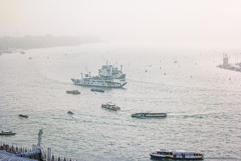 Foggy view from the top of Campanile di San Marco in the morning. Venice, Italy stock photography